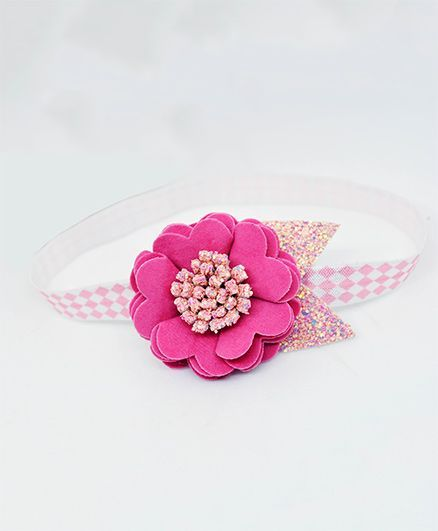 Little Tresses Scalloped Flower With Leaves Stretchable Headband - Pink