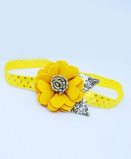 Little Tresses Scalloped Flower With Leaves Stretchable Headband - Yellow