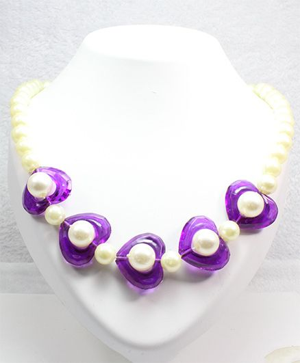 Milyra Pearls & Hearts Necklace - White Purple