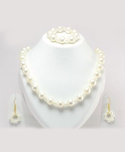 Milyra Pearls Necklace With Pair of Earrings & Bracelet Set - Off White