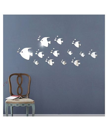 Syga Fish With Bubble Shape Acrylic Wall Sticker - Silver