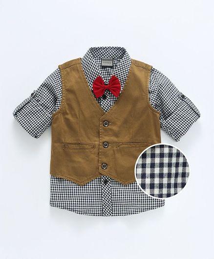 Rikidoos Waist Coat & Full Sleeves Shirt With Bow - Brown & Grey