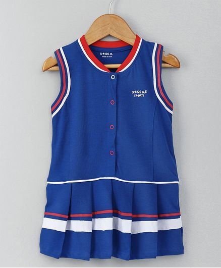 Doreme Sleeveless Frock Sports Print - Blue