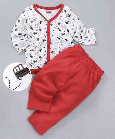 Babyhug Cotton Full Sleeves Night Suit Vehicle Print - Red & White