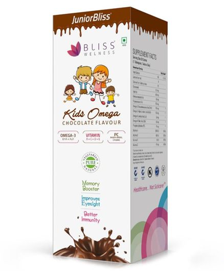 Bliss Welness Junior Bliss Kids Omega Chocolate Flavour Syrup - 300 gm