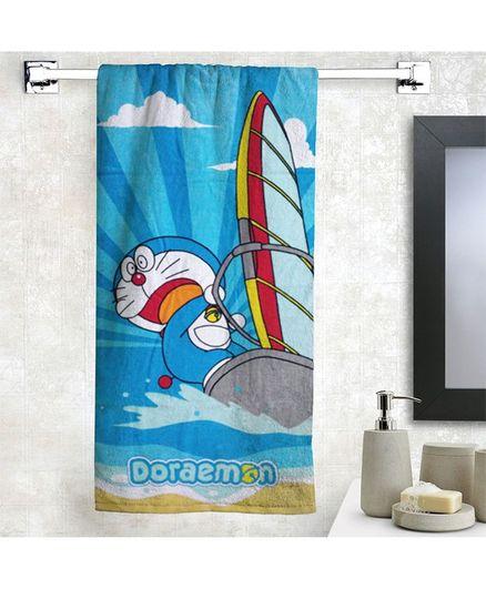 Athom Trendz Cotton Bath Towel Doraemon Print - Blue
