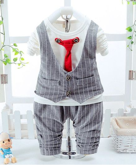 Pre Order - Awabox Stripes With Tie Top & Bottom Set - Grey