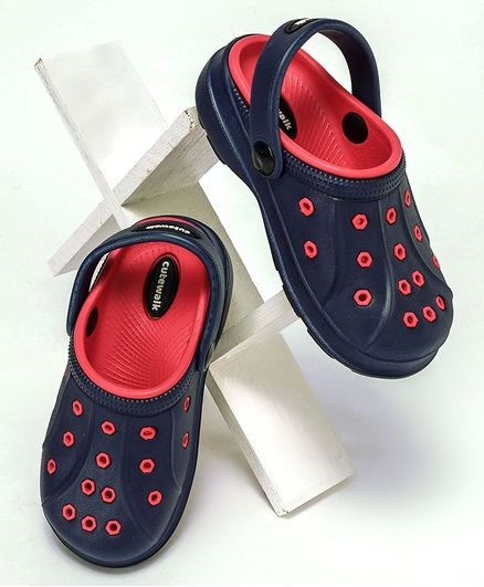 Cute Walk by Babyhug Clogs With Back Strap - Navy Blue Red