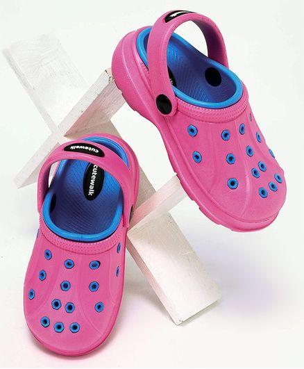 Cute Walk by Babyhug Clogs With Back Strap - Fuchsia Pink Blue