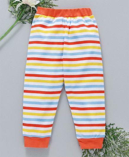 Babyhug Full Length Stripped Cotton Lounge Pant - Orange