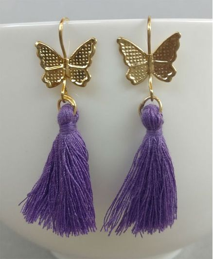 Tiny Closet Pair of Butterfly Earrings - Purple
