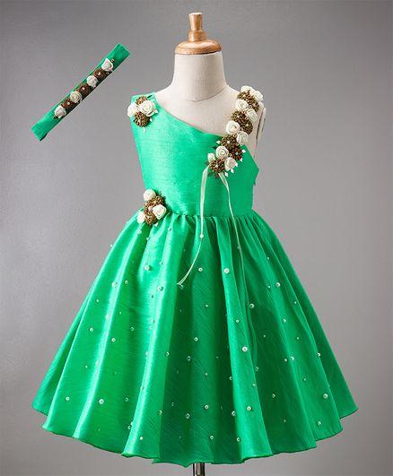 Li&Li Boutique One Shoulder Flower Dress - Green