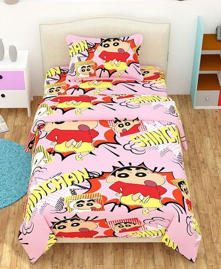 The Intellect Bazaar Single Bed Sheet With Pillow Cover Shin Chan Print    Pink