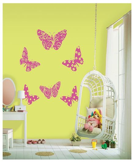 Asian Paints Flocked Butterfly Giant Wall Sticker - Pink