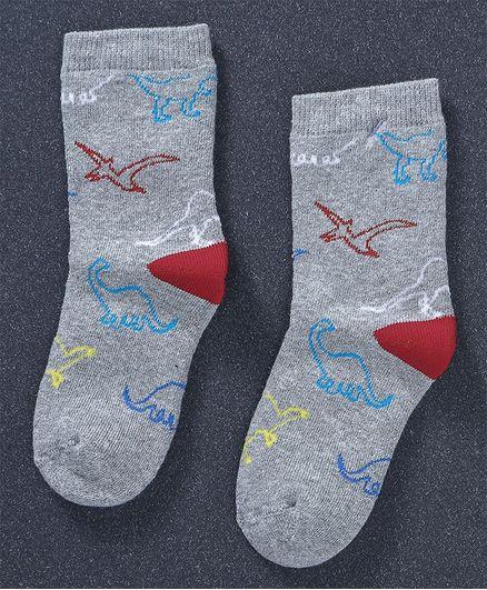 Mustang Quarter Length Socks Dino Design - Light Grey