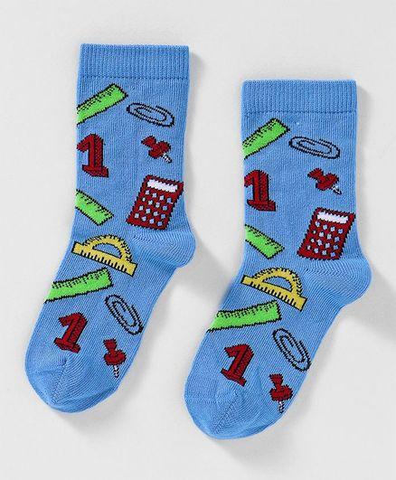 Mustang Quarter Length Socks Maths Design - Blue