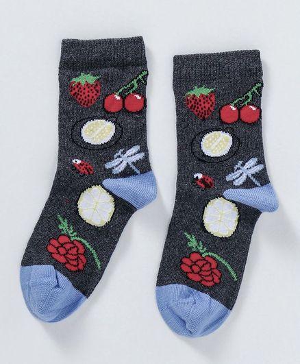 Mustang Quarter Length Socks Fruits Design - Dark Grey