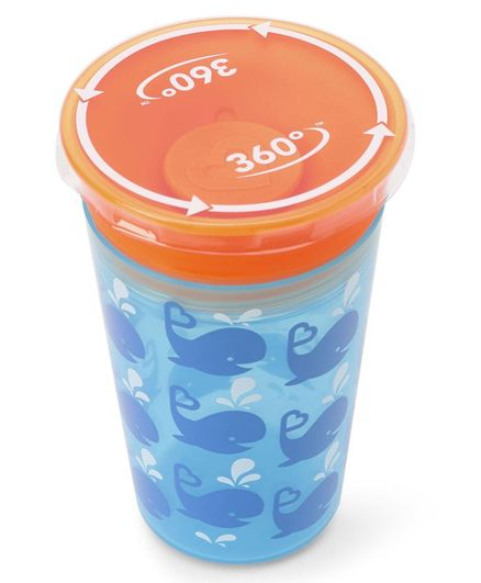 Munchkin Miracle 360 Decorated Sippy Cup Fish Print Blue Orange - 266 ml