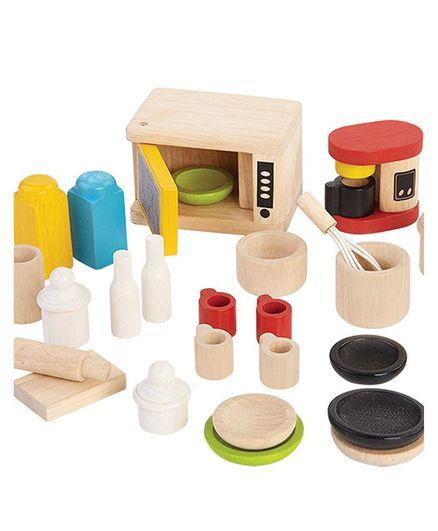 Plan Toys Wooden Kitchen Set Pack Of 27 Pieces Multicolour Online