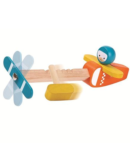 Plan Toys Wooden Spin & Fly Airplane - Multi Colour
