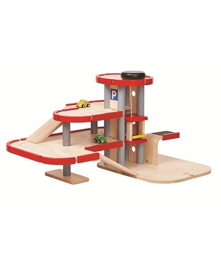Plan Toys Wooden Parking Garage - Red & Beige
