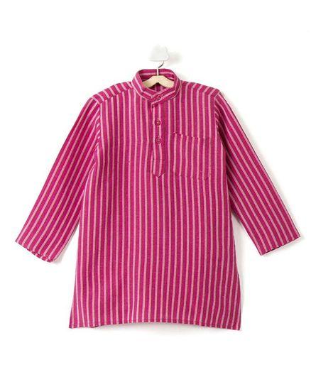 Pikaboo Full Sleeves Striped Kurta - Pink