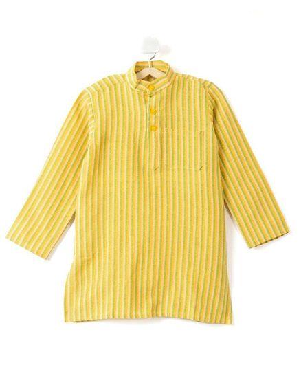 Pikaboo Full Sleeves Striped Kurta - Yellow