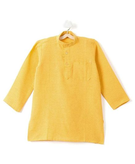 Pikaboo Solid Print Kurta - Yellow