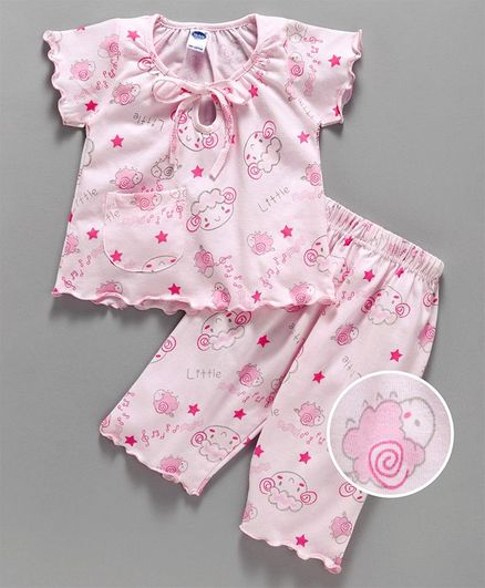 Teddy Half Sleeves Night Suit Little Sheep Print - Pink