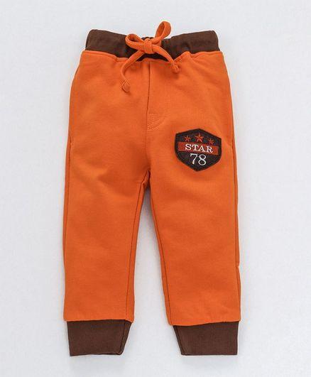 Olio Kids Full Length Lounge Pant Star Patch - Rust Orange