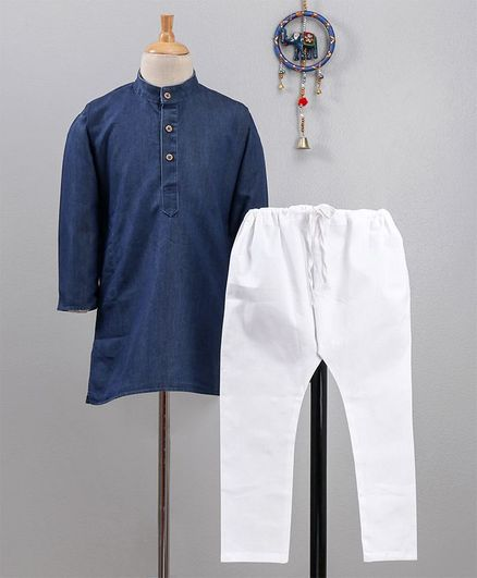 Babyhug Full Sleeves Denim Kurta And Pajama - Blue White