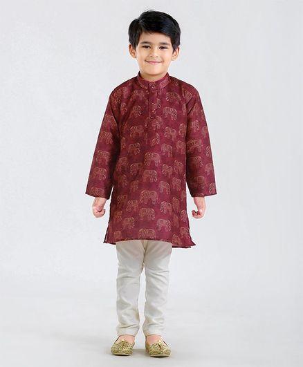 Babyhug Full Sleeves Kurta & Pyjama Set Elephant Print - Maroon