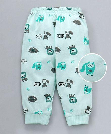 Olio Kids Full Length Lounge Pant Animals Print - Sea Green