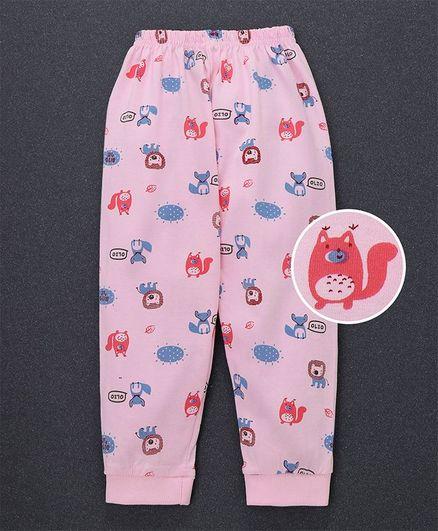 Olio Kids Full Length Lounge Pant Animals Print - Pink