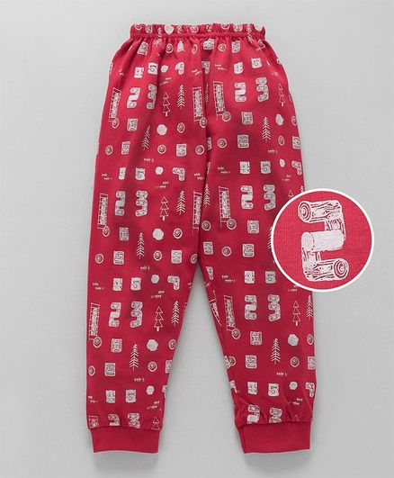 Olio Kids Full Length Lounge Pant Multi Print - Red