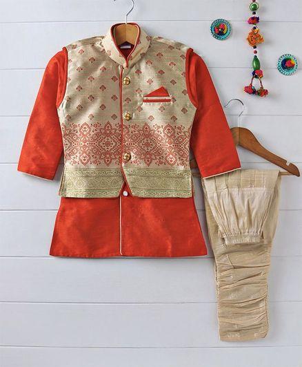 Babyhug Full Sleeves Kurta Pajama Set With Jacket - Orange & Beige