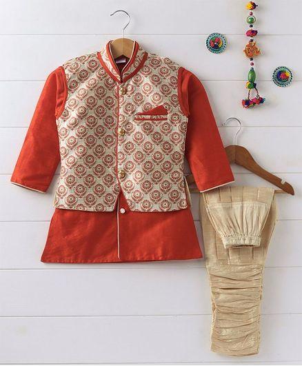 Babyhug Full Sleeves Kurta And Jodhpuri Breeches With Jacket - Orange Beige