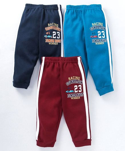 Zero Full Length Track Pants Racing Competition Print Pack of 3 - Maroon Navy Blue