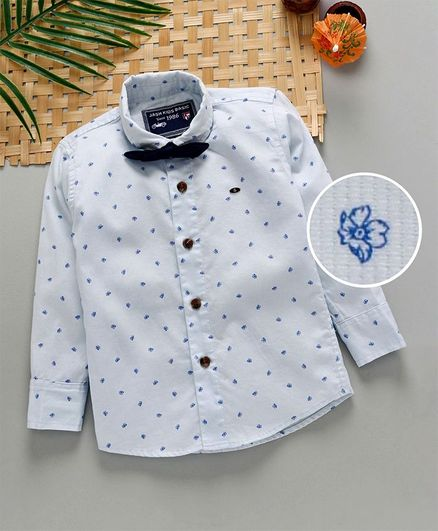 Jash Kids Full Sleeves Floral Printed Party Wear Shirt With Bow - Light Blue