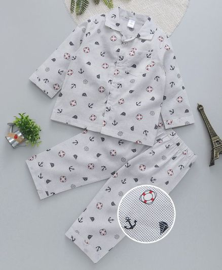 94ca172eea Buy ToffyHouse Collar Neck Night Suit Nautical Print Navy Blue for ...