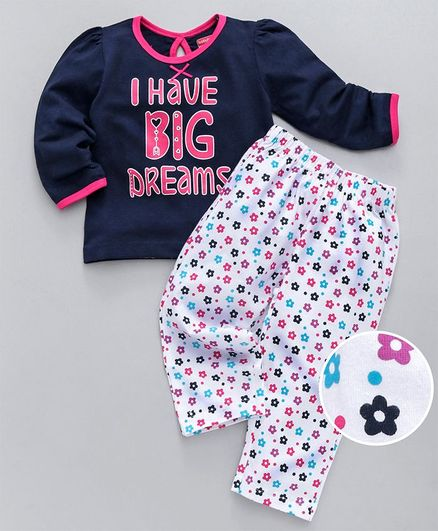 Babyhug Full Sleeves Night Suit With Floral Print - White & Navy