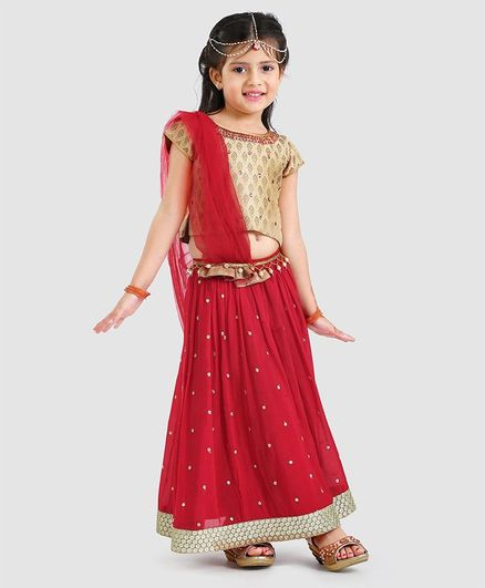 Babyhug Mirror Work Lehenga Choli With Dupatta - Red Beige