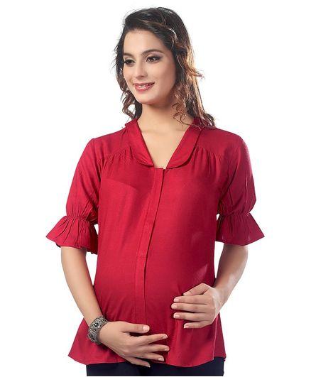 Kriti Three Fourth Sleeves Solid Maternity Nursing Top  - Red