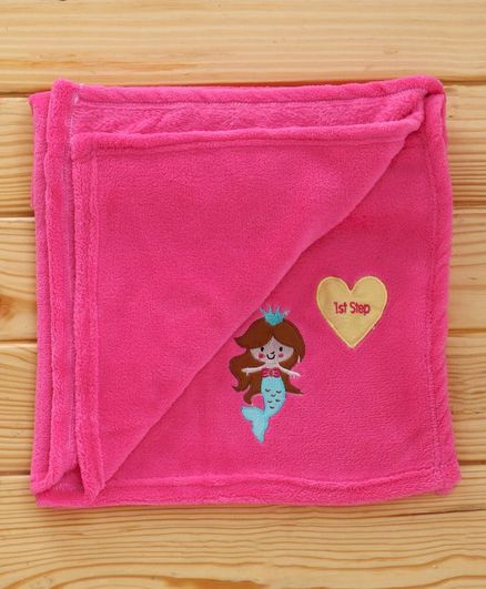1st Step Fleece Blanket Fairy Embroidered - Pink