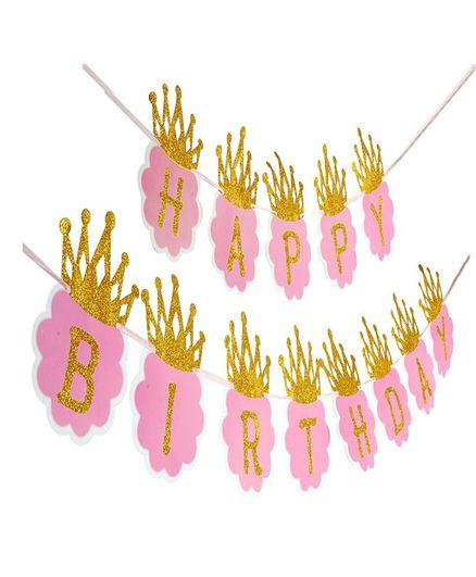 Shopperskart Happy Birthday Banner Crown Design - Pink