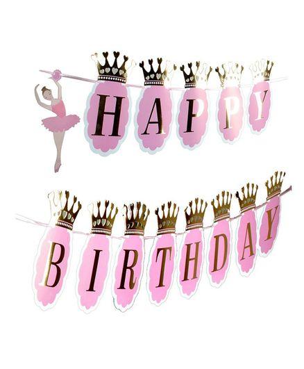 Shopperskart Happy Birthday Banner Ballerina Design - Light Pink