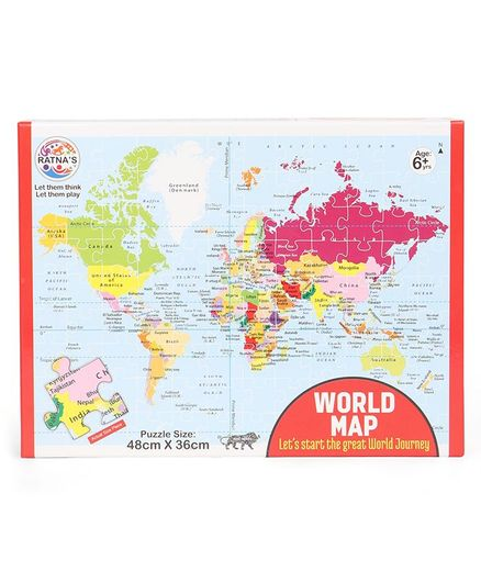 Ratnas world map jigsaw puzzle multicolour online india buy puzzle ratnas world map jigsaw puzzle multicolour gumiabroncs Gallery