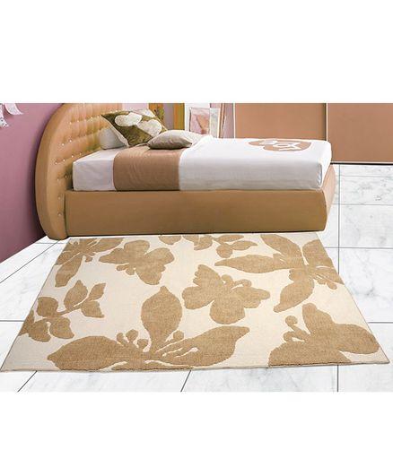 Saral Home Microfiber Floor Carpet Butterfly Print - Cream Brown