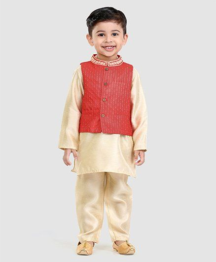 Babyhug Full Sleeves Kurta Pyjama & Jacket - Red & Off White