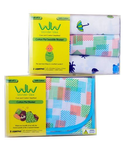 Wonder Wee Exclusive Blanket Combo Pack of 4 - Multicolour